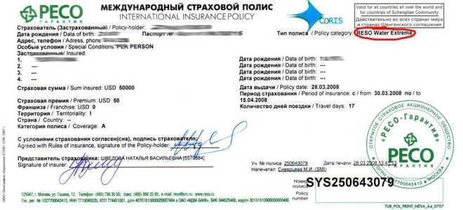 Пример медицинской страховки для шенгенской визы